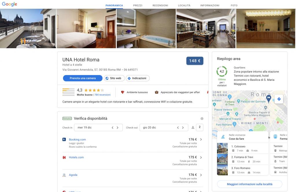 Google Hotel Ads scheda
