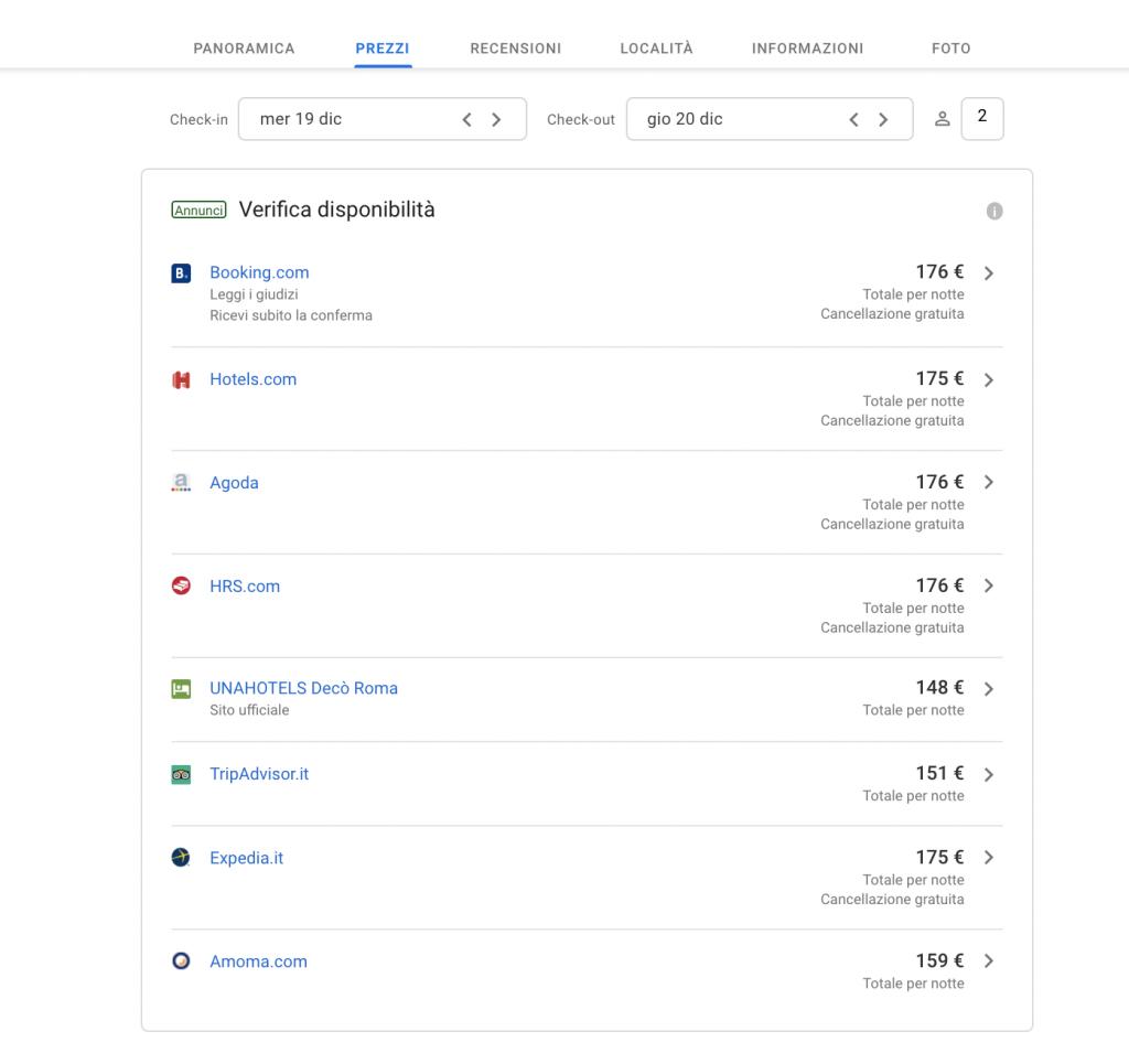 Prezzi Google Hotel Ads e link al sito ufficiale